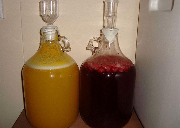 Medu dodajte sadni sok in nalijte ferment