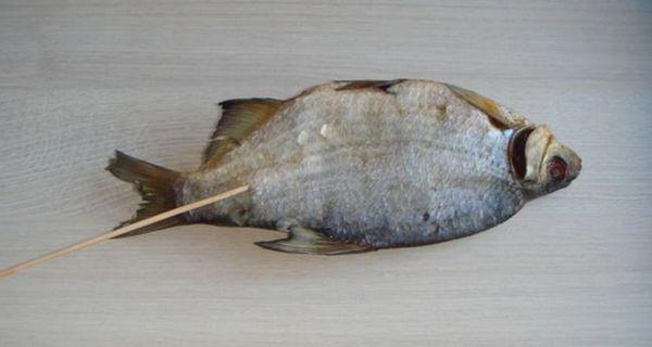 Сушена рибка насаджується на шпажку