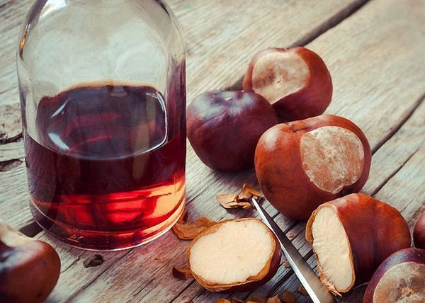 Fructele de castane toarnă alcool și insistă